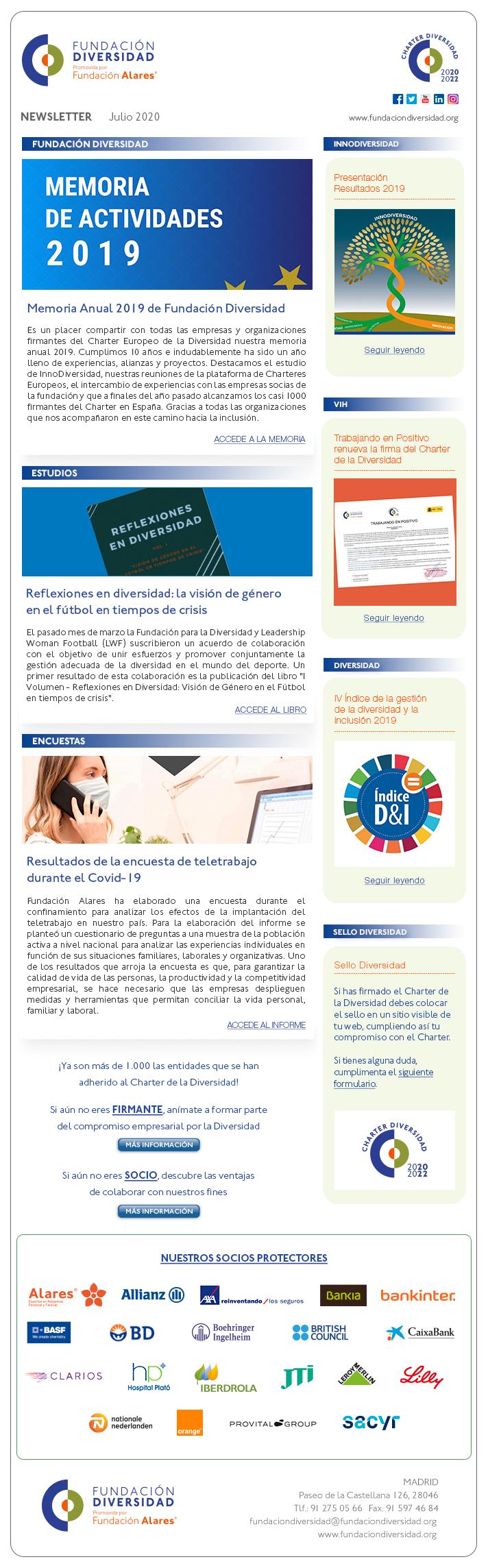 Newsletter julio 2020   Fundación Diversidad