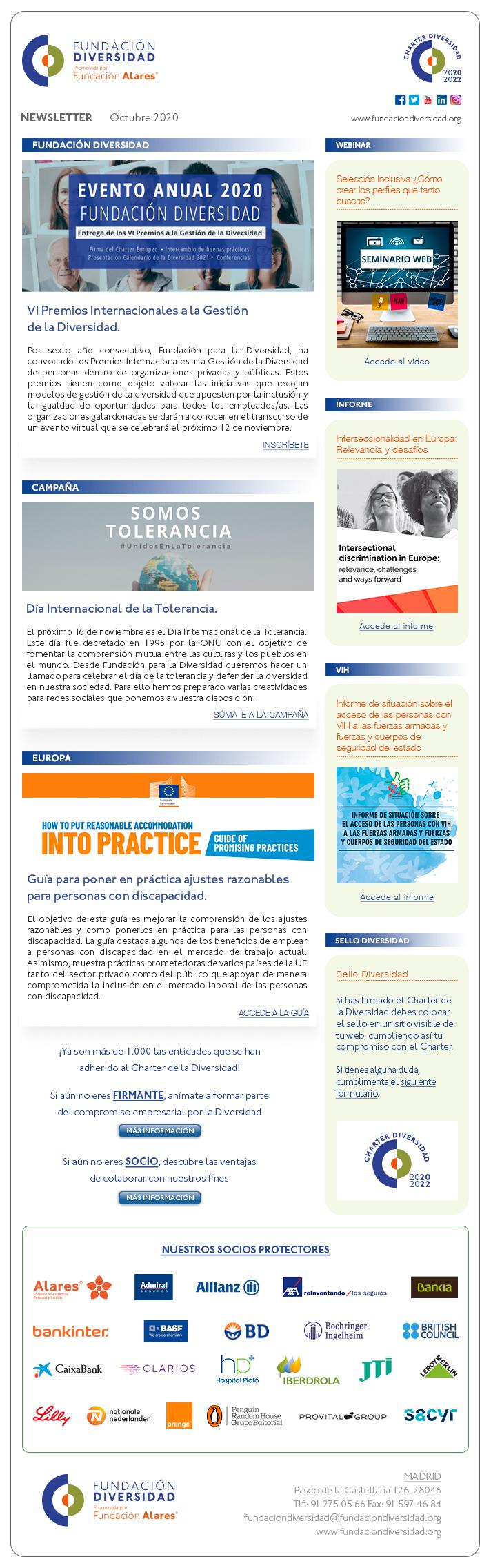 Newsletter Octubre 2020 | Fundación Diversidad