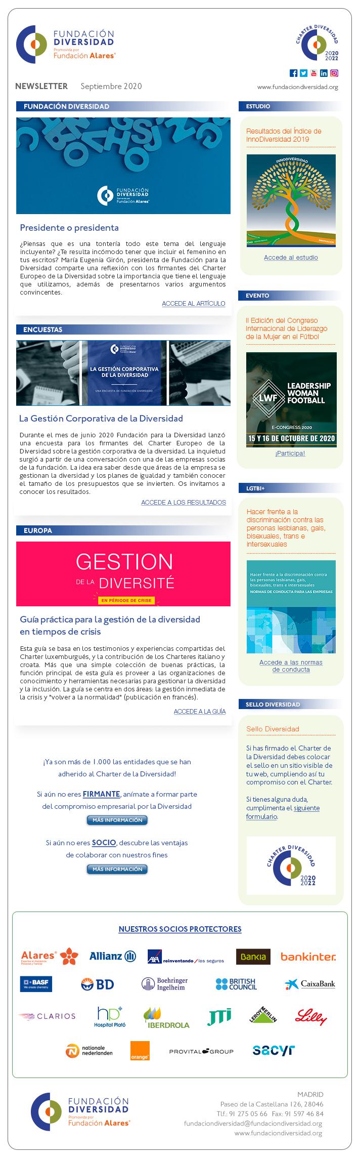 Newsletter septiembre 2020 | Fundación Diversidad